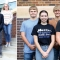Two photos side-by-side. On the left, six students stand in a row on the front school stairs. On the right, seven of the king and queen candidates stand for the photo.
