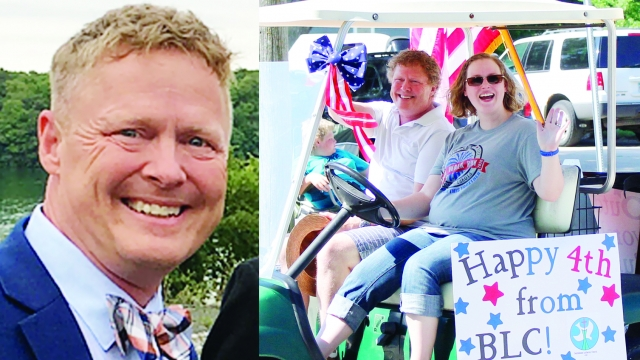 Two photos side by side. To the left, Pastor Mark Neumann smiles in a suit. To the right, he rides with Cassie Willmert in a golf cart decked out for a 4th of July parade.