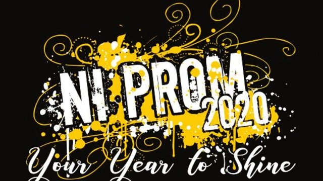 """""""NI PROM 2020, Your Year to Shine"""" is written in white in front of yellow paint splatter and swirls on a black background."""