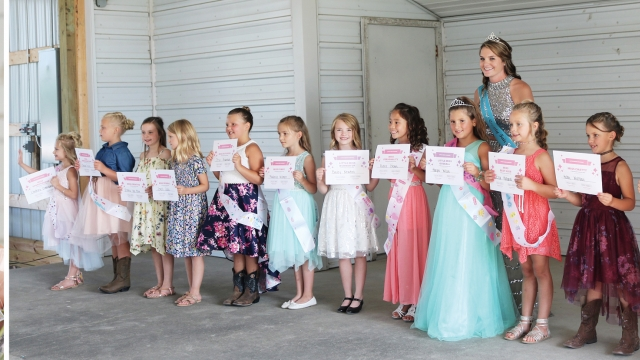 Three photos. In the middle, Katelin places a tiara on Madison's head. On the right, thirteen girls line up and hold certificates up for a photo as Katelin stands behind them. On the right, Bailey smiles whie holding her certificate.