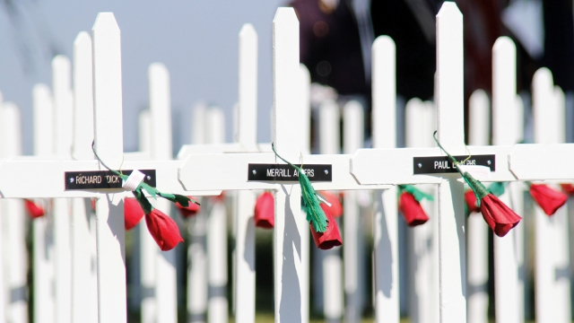 White crosses with small black plaques bearing the names of veterans fill the frame. An artificial poppy is wrapped around each cross.
