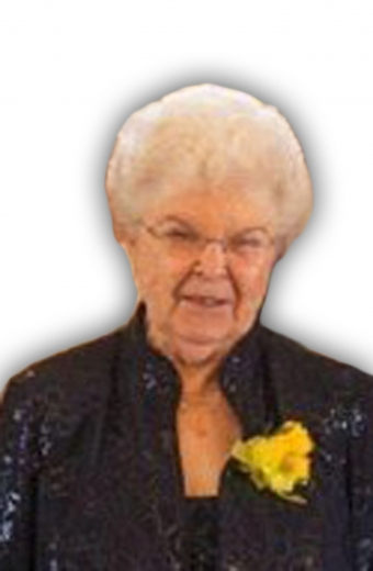 A cutout photo of Thelma wearing a black jacket with a yellow flower pinned to the lapel.