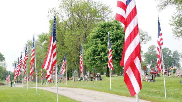 American flags fill the photo, behind which a cemetery can be seen, with many flowers decorating gravestones.